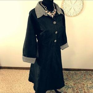 eShakti Black Button Down Collar Dress Houndstooth